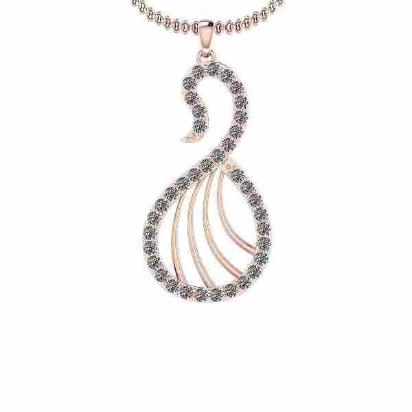Certified 0.35 Ct Diamond I1/I2 14K Rose Gold Pendant N