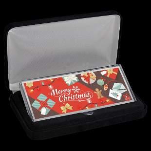 4 oz Silver Colorized Bar - Merry Christmas Festive Col