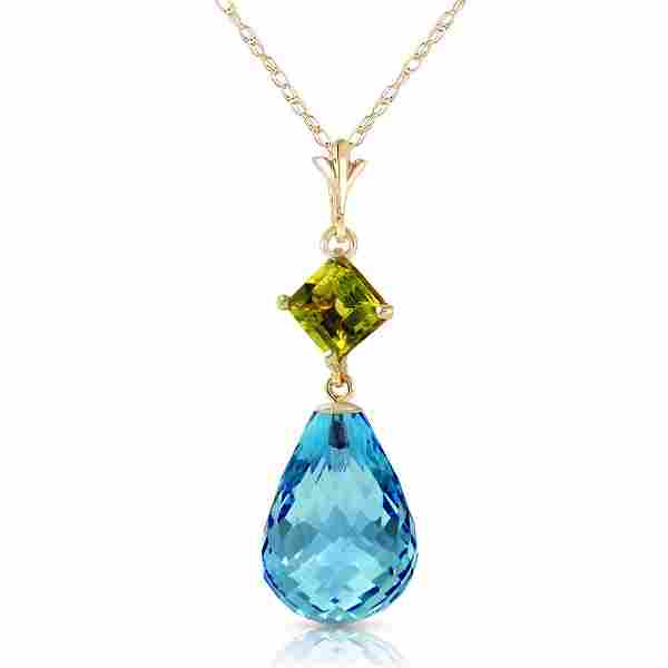 5.5 Carat 14K Solid Gold My Life Is You Peridot Blue To