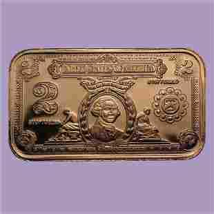 1 oz Copper Bar - $2.00 Washington Silver Certificate