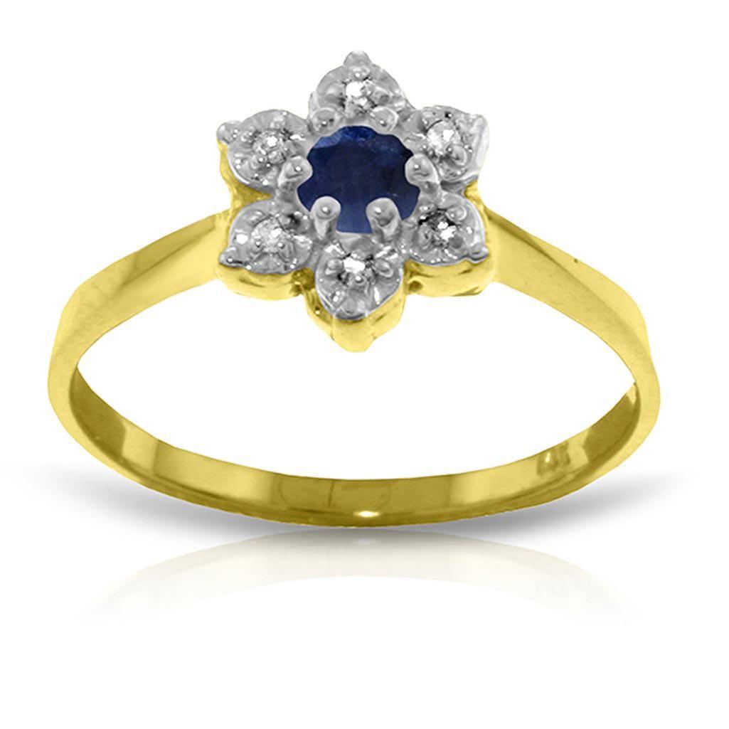 0.19 Carat 14K Solid Gold Lorraine Sapphire Diamond Rin