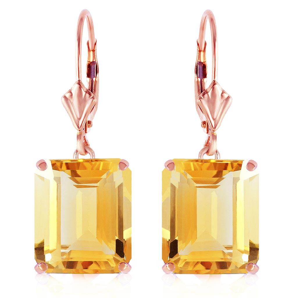 14K Solid Rose Gold Leverback Earrings with Citrines