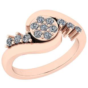 Certified 0.50 Ctw Diamond SI2/I1 14K Rose Gold Ring