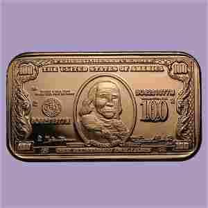 1 oz Copper Bar - $100 Benjamin Franklin Banknote Repli