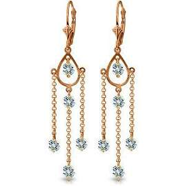 14K Solid Rose Gold Chandelier Earrings with Natural Aq