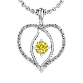 Certified 0.71 Ctw Treated Fancy Yellow And White Diamo