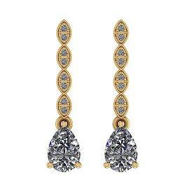 Certified 1.58 Ctw Diamond I1/I2 14K Gold Earrings