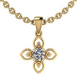 Certified 0.46 Ctw Diamond I1/I2 Pendant Necklace 10K G