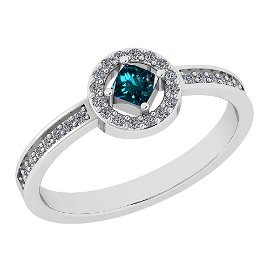 Certified 0.55 Ctw Treated Fancy Blue And White Diamond
