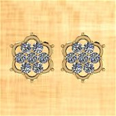 Certified 0.52 Ctw Diamond I2/I3 10k Yellow Gold Stud E