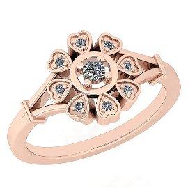 Certified 0.20 Ctw Diamond I1/I2 10K Rose Gold Engageme
