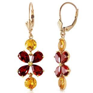5.32 CTW 14K Solid Gold Chandelier Earrings Citrine Gar