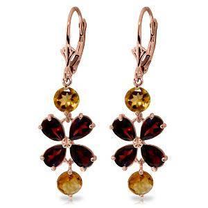 5.32 CTW 14K Solid Rose Gold Chandelier Earrings Garnet