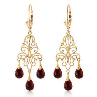 3.75 Carat 14K Solid Gold Chandelier Earrings Natural G