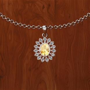 Certified 0.85 Ctw Citrine And Diamond SI1/SI2 14K Gold