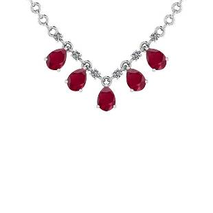 Certified 4.06 Ct Ruby and Diamond SI2/I1 14K White Gol