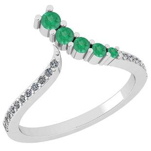 Certified 0.32 Ctw Emerald And Diamond SI2/I1 Eternity