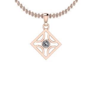 Certified 0.25 Ct Diamond I1/I2 14K Rose Gold Pendant N