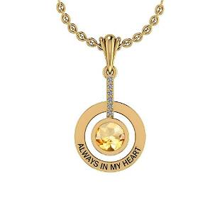 Certified 0.48 Ctw Citrine And Diamond I1/I2 14K Gold P