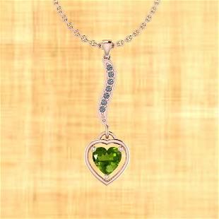 Certified 0.55 Ctw Peridot And Diamond I2/I3 10K Rose G