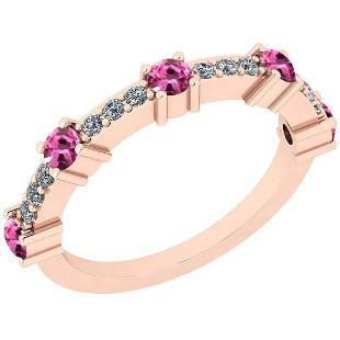 Certified 0.33 Ctw SI2/I1 Pink Sapphire And White Diamo