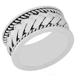 Certified 14K White Gold Mens Filigree Style Engagement