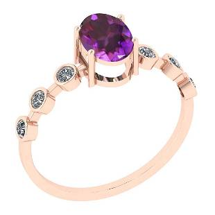 Certified 0.90 Ctw Amethyst And Diamond SI2/I1 14K Rose