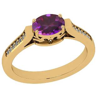 Certified 0.57 Ctw Amethyst And Diamond VS/SI1 18K Yell