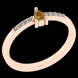Certified 0.21 Ct Natural Yellow Diamond And White Diam