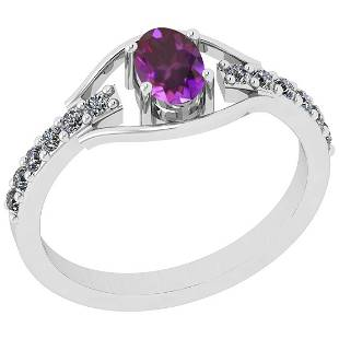Certified 0.75 Ctw Amethyst And Diamond SI2/I1 14K Whit
