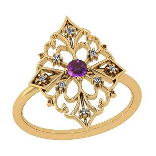 Certified 0.18 Ctw Amethyst And Diamond I1/I2 14K Gold