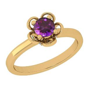 Certified 0.50 CTW Amethyst And Diamond I1/I2 14K Gold