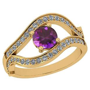 Certified 0.70 Ctw Amethyst And Diamond VS/SI1 14K Yell