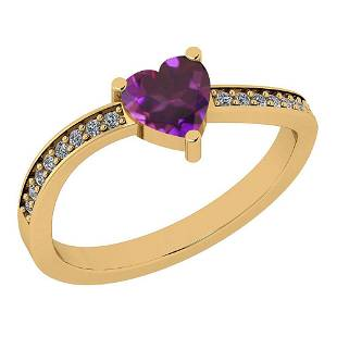 Certified 0.61 Ctw Amethyst And Diamond VS/SI1 14K Gold