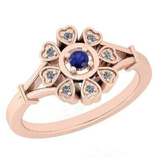 Certified 0.16 Ctw Blue Sapphire And Diamond VS/SI1 14K