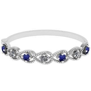 Certified 1.24 Ctw I2/I3 Blue Sapphire And Diamond 14k