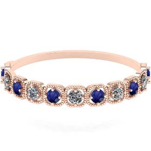 Certified 1.00 Ctw I2/I3 Blue Sapphire And Diamond 14k