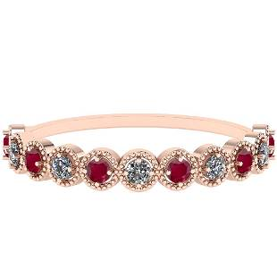 Certified 1.00 Ctw I2/I3 Ruby And Diamond 14k Rose Gold