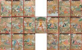 A SET OF TIBETAN THANGKA OF SEATED BUDDHA