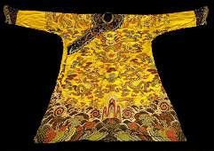 CHINESE YELLOW EMBROIDERY IMPERIAL DRAGON ROBE
