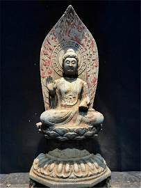 CHINESE COLOR PAINTED STONE SEATED GUANYIN