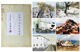 SIX PAGESOF CHINESE ALBUM WATERCOLOR OF LANDSCAPE