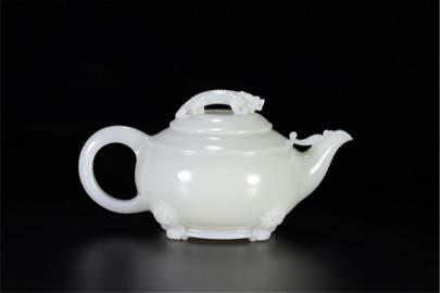 CHINESE WHITE JADE DRAGON TEA POT