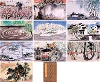 TEN PAGES OF CHINESE ALBUM PAINTING OF LANDSCAPE SIGNED