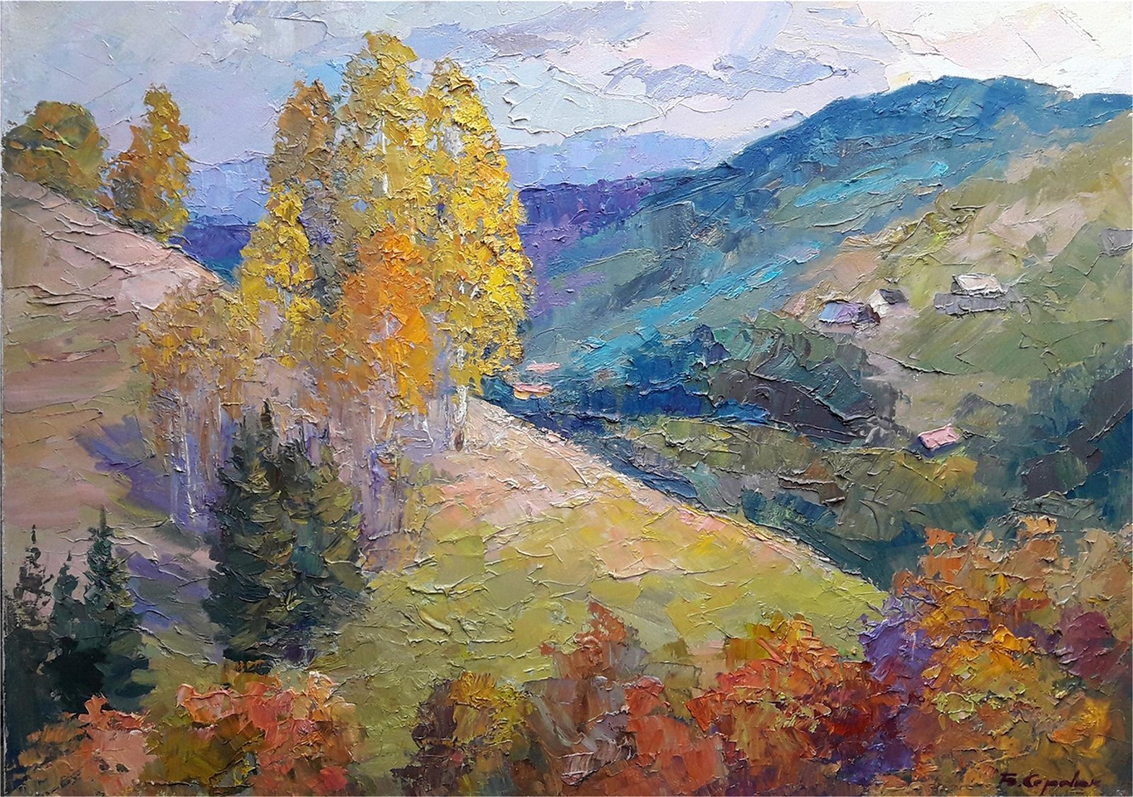 No Reserved  Oil painting Autumn in the Carpathians