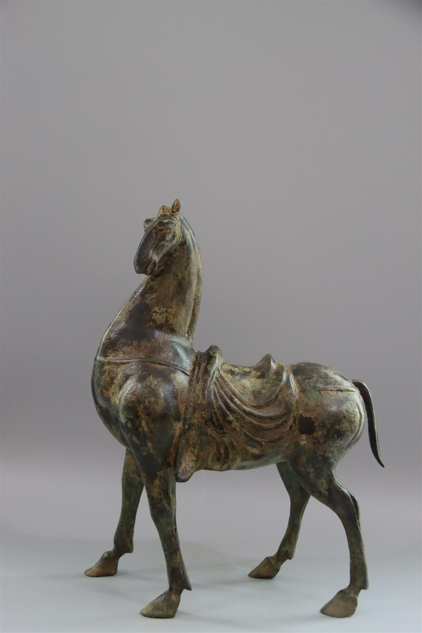 CHINESE ANCIENT BRONZE HORSE INCENSE CAGE