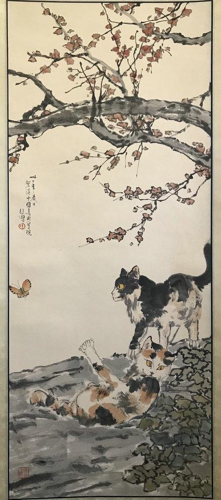 NO RESERVED CHINESE SCROLL PAINTING OF TWO CATS SIGNED
