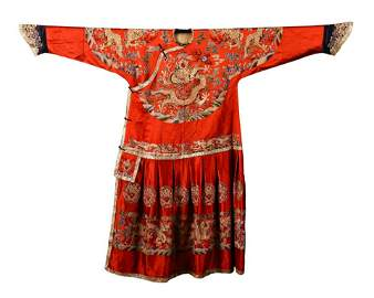 CHINESE EMBROIDERY RED IMPERIAL DRAGON ROBE