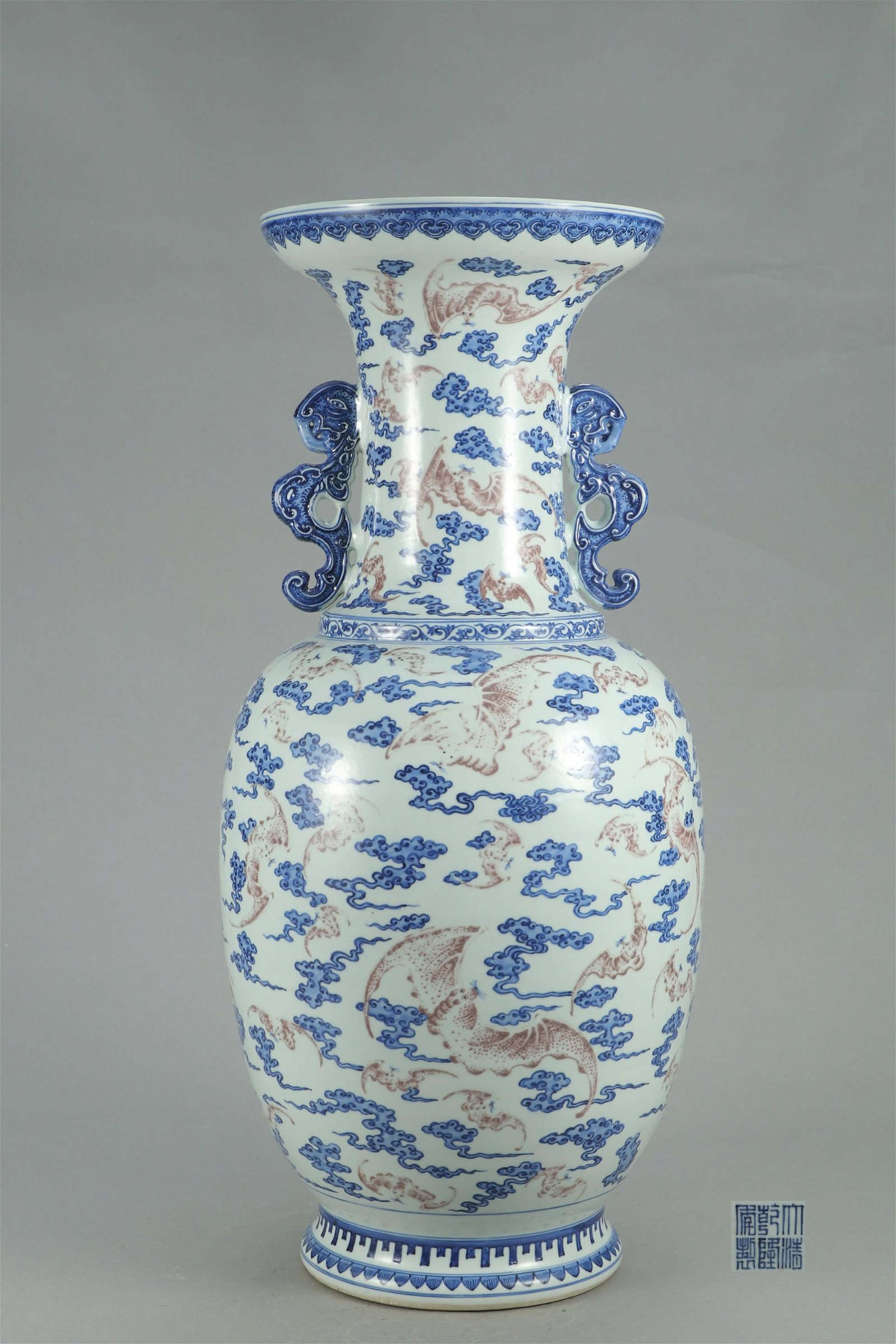 LARGE CHINESE PORCELAIN BLUE AND WHITE RED UNDER GLAZE