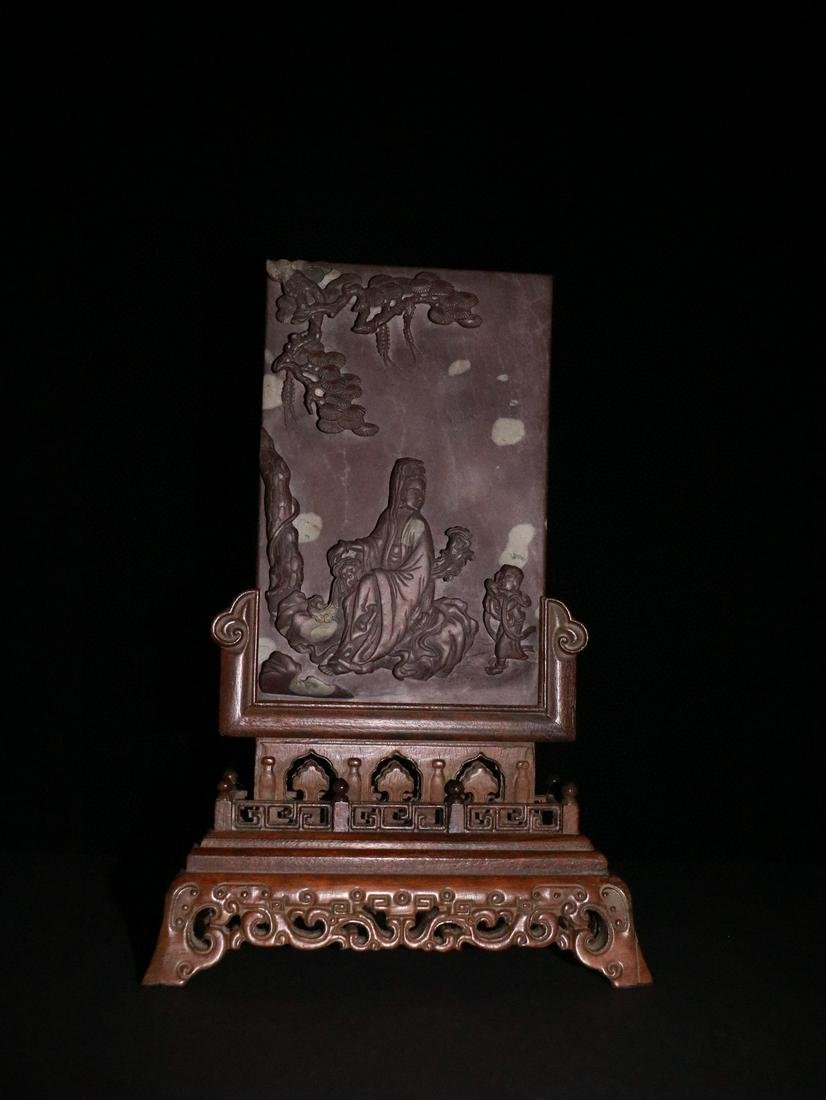 CHINESE DUAN STONE PLAQUE BOXWOOD TABLE SCREEN